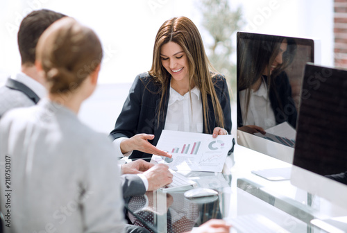 business team analyzing financial performance Canvas Print