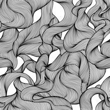 Seamless Wave Hair Line Pattern.