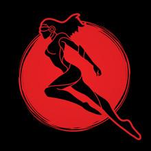 Superhero Flying Action, Cartoon Superhero Woman Jumping Graphic Vector.