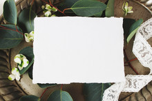 Styled Stock Photo. Feminine Wedding Still Life Composition, Mockup Scene. Closeup Of Blank Cotton Paper Card, Vintage Silver Tray, Lace Ribbon, Hydrangea Flowers And Eucalyptus Leaves And Branches.