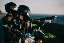 Bikers In Helmets On Motorcycl...