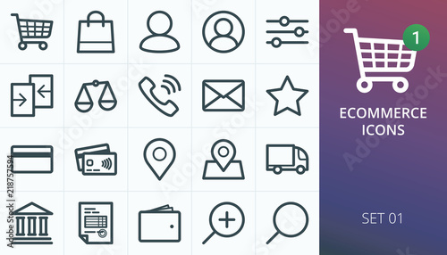 Fototapeta Ecommerce and online store web icons set. Collection of shopping carts, users, phones, payments, delivery, map markers. obraz