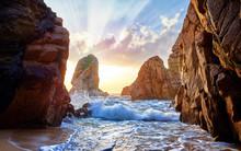 Sand Beach Among Rocks On Evening Sunset. Ursa Near Cape Roca