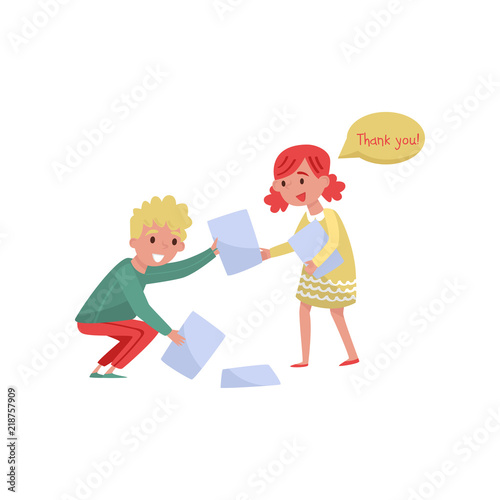Obraz Smiling boy helping girl to picking up paper from the floor. Kids with good manners. Flat vector design - fototapety do salonu