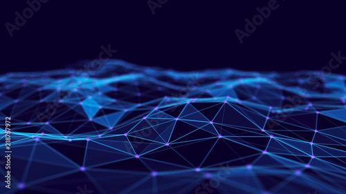 Cadres-photo bureau Fractal waves Abstract technology background. Network connection structure. Science background. Big data digital background. 3d rendering.