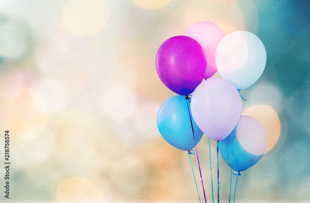 Fototapety, obrazy: Bunch of colorful balloons on white background
