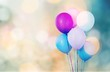canvas print picture - Bunch of colorful balloons on white background
