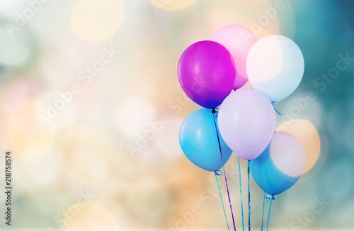 Photo  Bunch of colorful balloons on white background