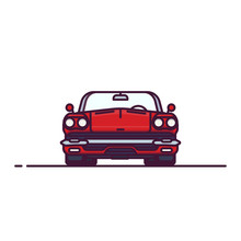 Front View Of Red Muscle Sport Car With Convertible Hood. Cabriolet Old Style Vehicle. Line Style Vector Illustration. Vehicle And Transport Banner. Retro Style Old Car From 60s.