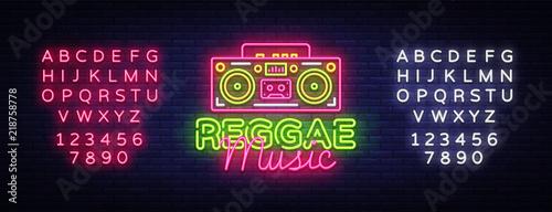 Cuadros en Lienzo Reggae Music Neon Logo Vector