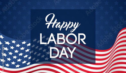 Happy Labor day banner vector illustration, Beautiful USA flag waving on blue star pattern background.