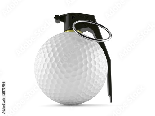 Golf ball with hand grenade fuse - Buy this stock illustration and