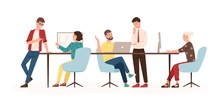 Men And Women Sitting At Desk And Standing In Modern Office, Working At Computers And Talking With Colleagues. Effective And Productive Teamwork. Colorful Vector Illustration In Flat Cartoon Style.