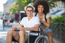 Handicapped Man In Wheelchair ...