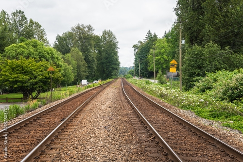Railroad Tracks in the Countryside of British Columbia under Cloudy Sky in Summer