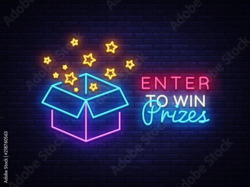 Fotografía Enter to Win Prizes Neon Sign Vector
