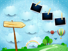 Surreal Landscape With Balloons, Arrow Sign And Photo Frames