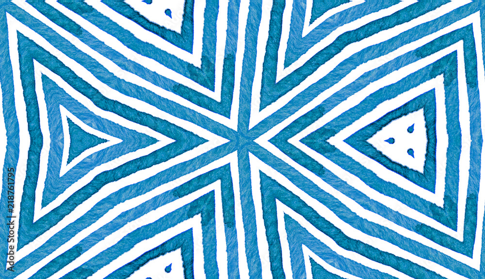 Blue Geometric Watercolor. Cute Seamless Pattern. Hand Drawn Stripes. Brush Texture. Fresh Chevron O