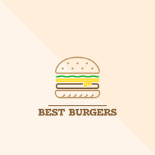 Best Hot Royal King Burger Line Icon. Delicious Fast Food With Fresh Filling Consisting Of Vegetables, Meat And Melted Cheese. Vector Illustration.