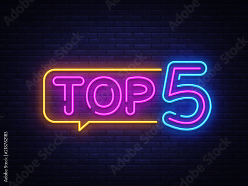 Photographie Top 5 Neon Text Vector