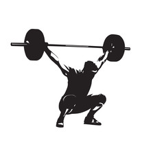 Weightlifting. Weight Lifter With Big Barbell, Isolated Vector Silhouette. Strong Man