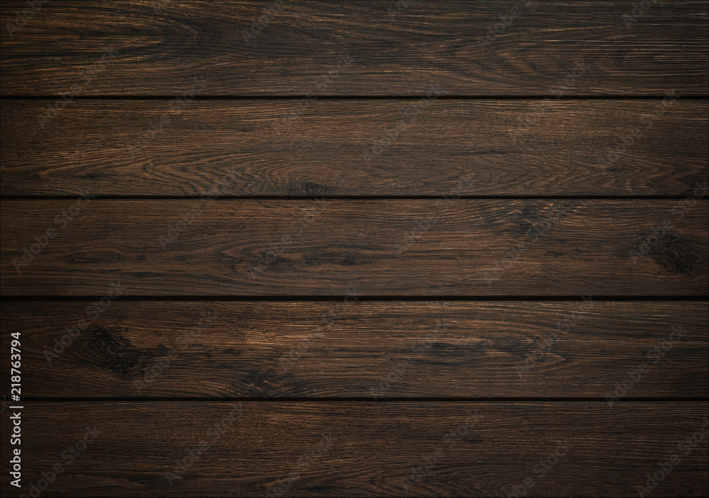 Fototapety, obrazy: Dark wood background. Wooden board texture. Structure of natural plank.