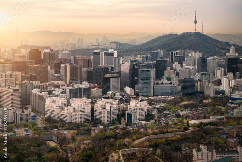 Sunrise scene of Seoul downtown city skyline