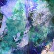 canvas print picture - malerei blau grün texturen