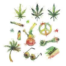 Watercolor Marijuana Set