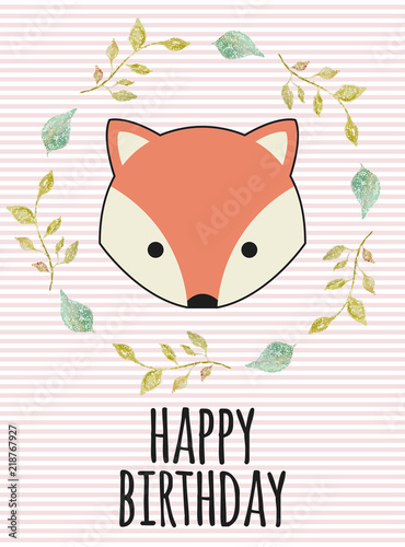 Fotobehang Retro sign fox birthday