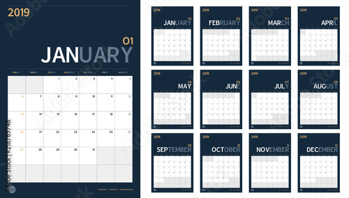 vector of 2019 new year calendar set in clean minimal table simple style and navy blue