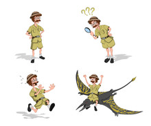 Set Images Of Professor In Cartoon Style. Image Of Hunter In Isometric View. Drawing Of Jungle Researcher