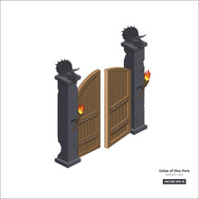 Dinosaurs Gate In Isometric St...
