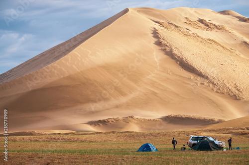 Tourist camp near  barkhan in Mongolia sandy dune desert Mongol Els Wallpaper Mural