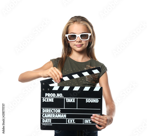 Cute little girl with clapper board wearing 3D cinema glasses on white backgroun Tapéta, Fotótapéta