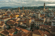 Panoramic view of Florence, buildings roofs, sunset