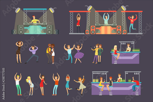 Obraz Young Smiling People Dancing In Night Club And Drinking In The Bar With DJ Playing Music Cartoon Vector Illustration - fototapety do salonu