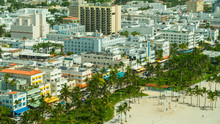 Aerial Photo Iconic Hotels On Ocean Drive With Palm Trees Lummus Park