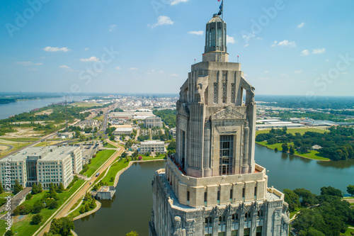 Aerial closeup of the Louisiana State Capitol Building and welcome center in Bat Canvas