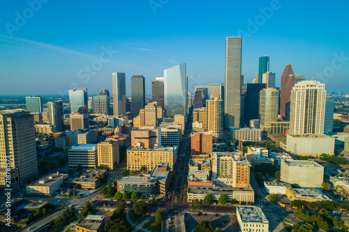 Fotografija Aerial drone photo Downtown Houston Texas skyscrapers business district