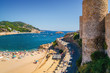 Sunny view of fortress Tossa de Mar at the coast of Mediterranean sea, Girona province, Spain.
