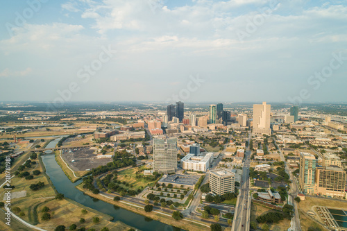Poster Texas Aerial photo Downtown Fort Worth Texas USA