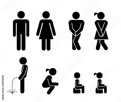 Set of toilet signs Canvas Print