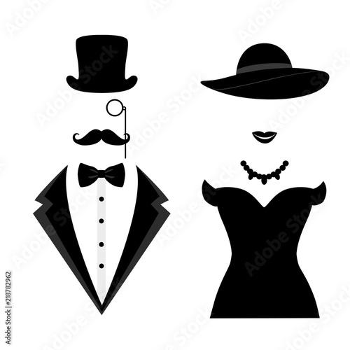 Fototapeta Gentleman and lady icon isolated on white background.