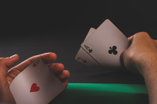 Card Game Sharper A Game Of Poker. Two Aces. Scam