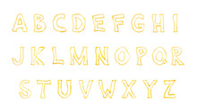 Alphabet Made With Pieces Of Fried French Fries Isolate On White Background