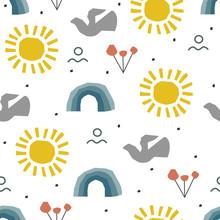 6029183 Abstract Childish Pattern With Sun, Nature, Rainbow In Scandinavian Style. Kid Collage Decor.