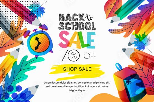 Vector back to school sale banner, poster background. Color leaves, pencils, clock, backpack on white background. © Betelgejze