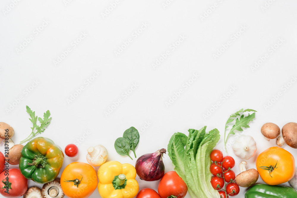 Fototapety, obrazy: top view of ripe vegetables and herbs isolated on white
