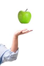 Ripe Large Green Apple Levitat...